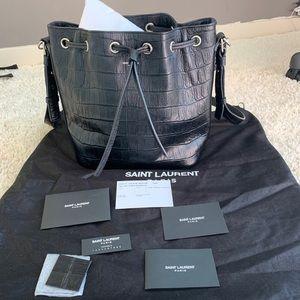 SAINT LAURENT Emmanuelle black Leather Bucket Bag